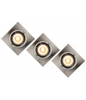 Focus Recessed Spot LED Dim. GU10 3x5W 3000K Chrome Frosted Set of 3