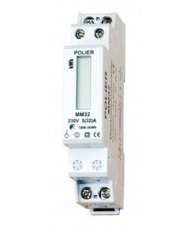 Compteur Modulaire Monophasé 32 A simple tarif affichage LCD CE