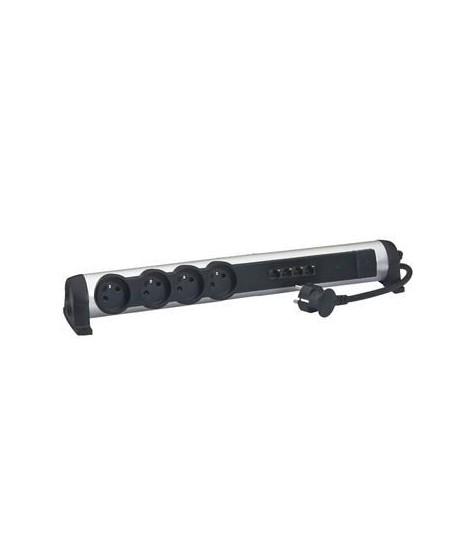 Rallonge multiprise 4x2P+T 16A 230V + 4 prises RJ45 avec switch Ethernet 10/100mbps - alu et noir