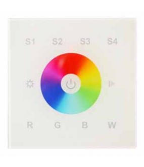 Dalle murale Blanche tactile RVB+W HF 1 zone 4 mémoires 12/24V DC 86x86x31mm