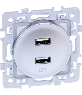 SQUARE chargeur dble USB 5V SILVER