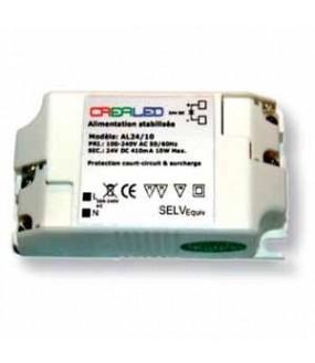 Alimentation stabilisée Entrée 100-240VAC - Sortie 24VDC 0,41A 10W 86x45x26mm 0,08Kg